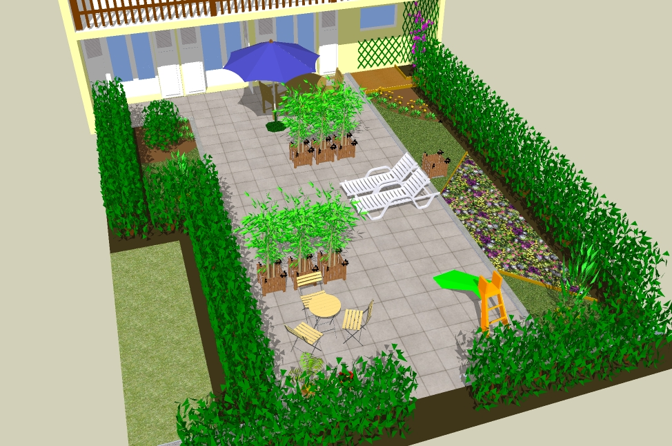 sketchup garden conception 3d de jardin avec le logiciel gratuit sketchup. Black Bedroom Furniture Sets. Home Design Ideas