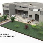 Tutoriel vidéo Dessiner une maison en 3d et son jardin avec SketchUp